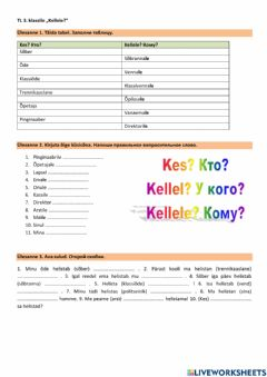 Interactive worksheet Kellele?