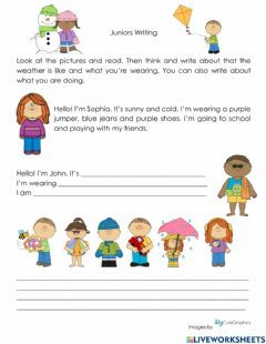 Interactive worksheet Writing: About Me (Weather, Clothes and Actions)