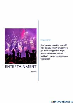 Interactive worksheet Entertainment in the city and in the countryside