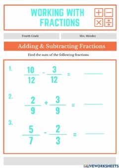 Ficha interactiva Adding fractions