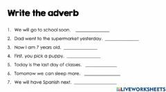 Interactive worksheet Adverbs that tell when