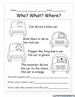 Interactive worksheet Who what where
