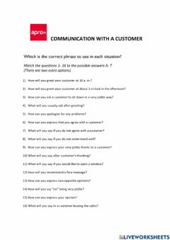 Interactive worksheet Communication with a customer