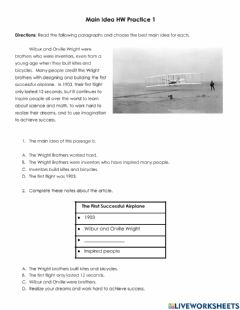 Interactive worksheet Main Idea HW Practice 1