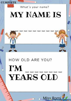 Ficha interactiva My name is.... i´m ... years old