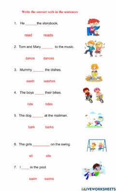 Interactive worksheet Singular and Plural Verbs