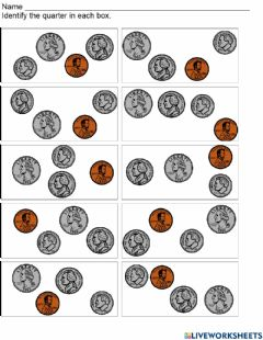 Interactive worksheet Find the Quarters