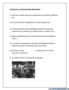 Interactive worksheet Causas rev. industrial