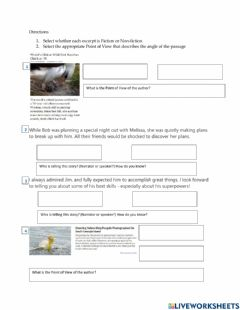 Interactive worksheet Point of View: Fiction vs Non-fiction