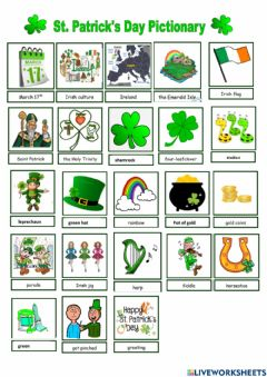 Interactive worksheet St. Patrick's day pictionary