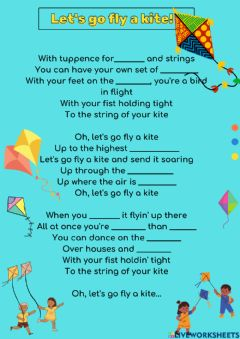 Ficha interactiva Let-s go fly a kite