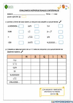 Interactive worksheet Números reales