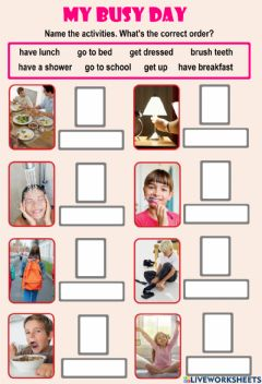 Interactive worksheet My busy day 1