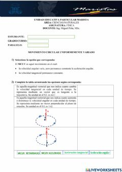 Interactive worksheet Movimiento Circular Uniforme - 1ero BGU