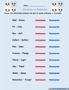 Interactive worksheet Antonyms and Synonyms