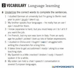 Ficha interactiva Vocabulary Language Learning