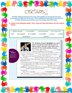 Interactive worksheet The Oscars - Passive Voice