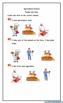 Interactive worksheet Jobs in Agriculture