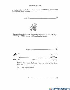 Interactive worksheet Elapsed Time BJC Questions
