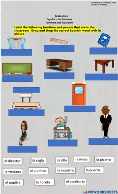 Interactive worksheet Furniture and classroom objects in Spanish