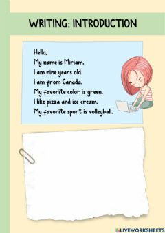 Interactive worksheet All about me - Personal information