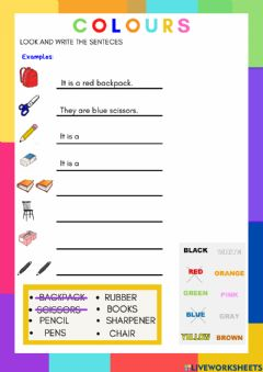 Interactive worksheet Colours and classroom objects