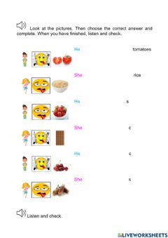 Interactive worksheet Like food