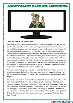 Interactive worksheet About Saint Patrick Listening
