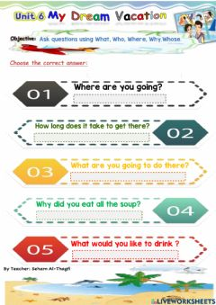 Interactive worksheet Answer questions What, Why, Where