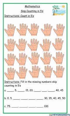 Interactive worksheet Skip counting in 5's hand tuesday homework worksheet