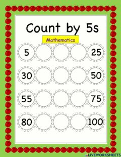 Ficha interactiva Skip counting in 5's flower worksheet