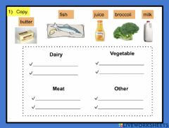 Interactive worksheet Grocery shopping list
