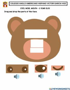 Interactive worksheet Eyes, nose, mouth - 3 year olds