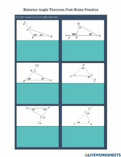 Interactive worksheet Exterior Angle Theorem Post-Notes Practice