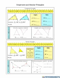 Interactive worksheet Congruent and Similar Triangles Notes
