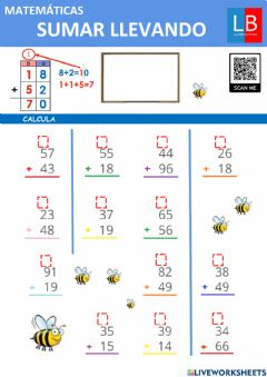 Interactive worksheet Sumar llevando
