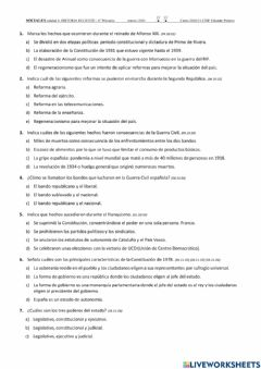 Interactive worksheet Test sobre la historia reciente