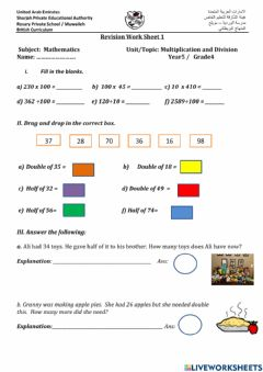 Ficha interactiva Doubling and Halving