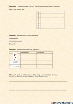 Interactive worksheet Muusikateooria