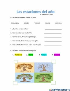 Interactive worksheet Las Estaciones