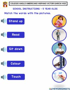 Interactive worksheet School instructions - 5 year olds