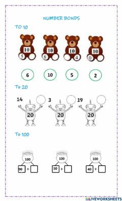 Interactive worksheet number bonds to 10, 20 and 100