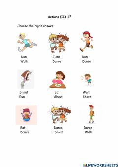 Interactive worksheet Actions II 1º