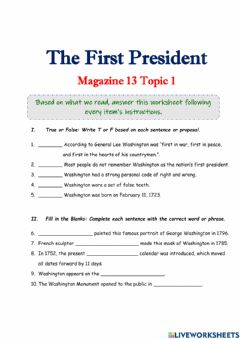 Interactive worksheet The First President