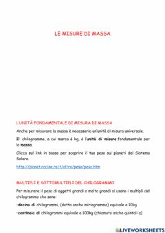 Interactive worksheet Misure di massa