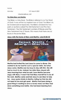 Interactive worksheet Mary and martha