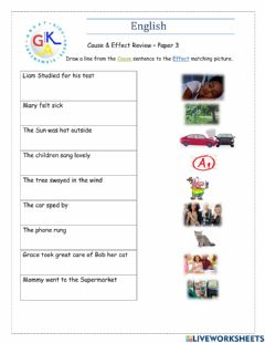 Interactive worksheet Cause & Effect Review