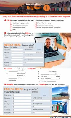 Interactive worksheet Studying English in Brighton - part 1