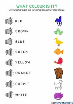 Interactive worksheet Brown bear... what colour is it?