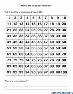 Ficha interactiva Prime and Composite Numbers